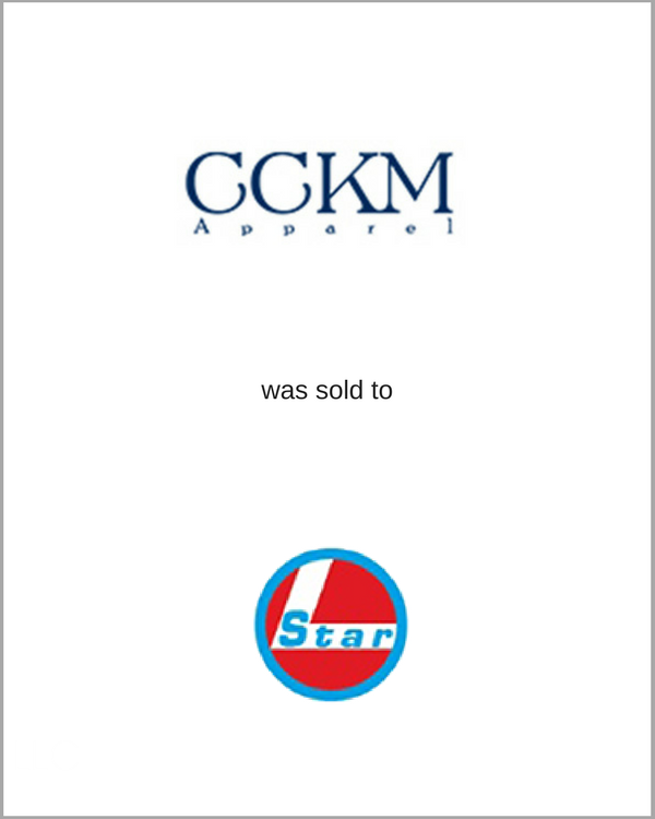 CCKM Apparel was sold to STAR