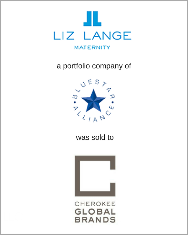 Liz Lange, a portfolio brand of BlueStar Alliance, was sold to The Cherokee Group