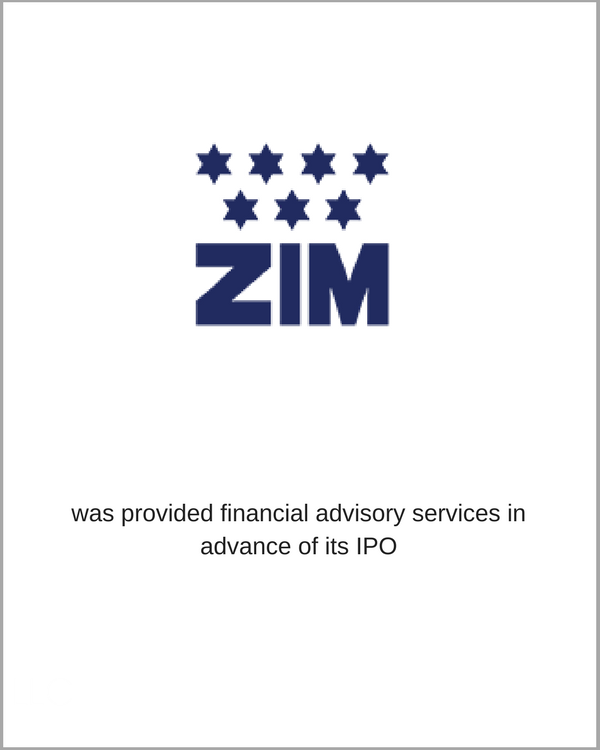 ZIM was provided financial advisory services in advance to its IPO
