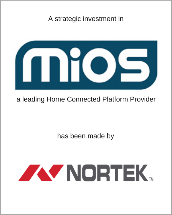 Mios received a strategic investment from Nortek